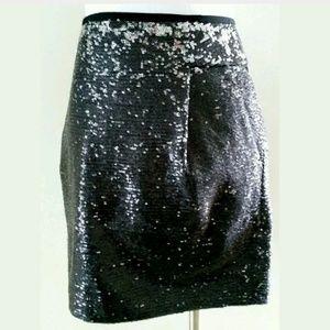 J.crew silver & black sequin mini skirt sz 8